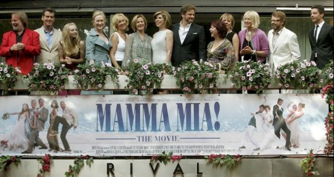 ABBA and the cast of Mamma Mia! The Movie