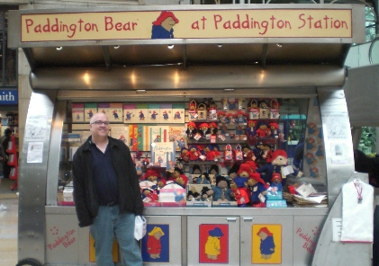 Grant at the Paddington Bear stand in Paddington station